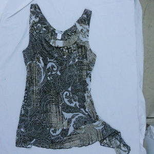 Cache Graphic Beaded Side Tie Top NWT